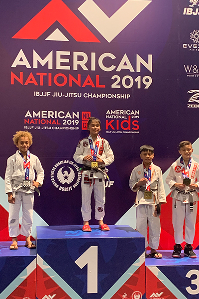 Kids on the podium at the American National 2019 Brazilian Jiu-Jitsu tournament