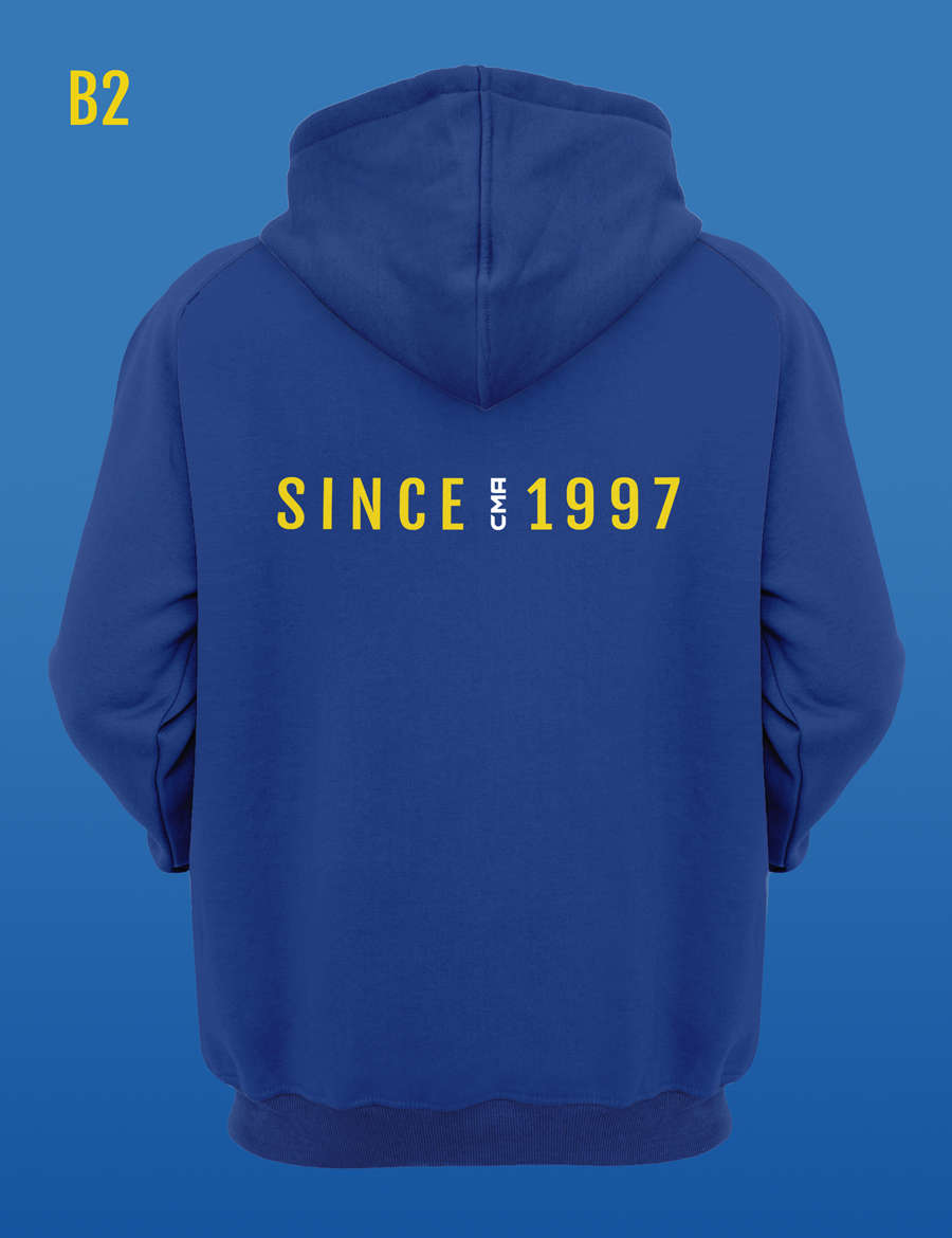 Since '97 back design for a royal blue martial arts hoodie