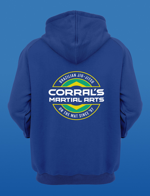 Since '97 Zip-Up Hoodie blue back design for Corral's Martial Arts