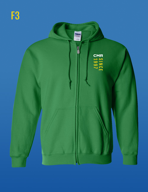 Since '97 Zip-Up Hoodie green front design for Corral's Martial Arts